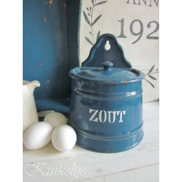Oude emaille zoutpot