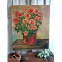 Oud schilderij met bloemen